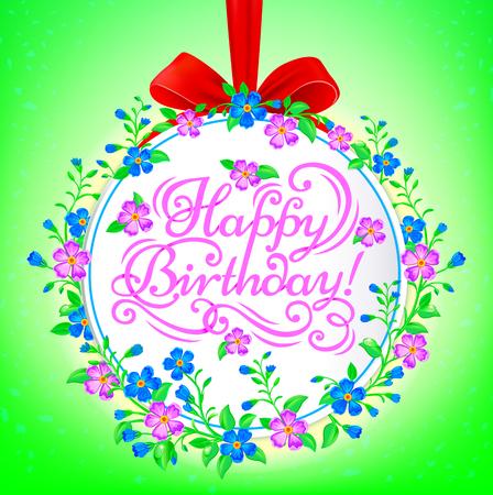 congratulatory: Pink congratulatory text Happy Birthday on the beautiful backdrop of flowers. Illustration