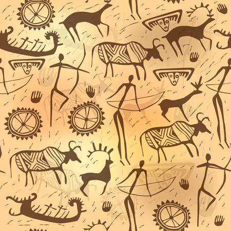 pintura rupestre: ornamento sin costuras antigua de edad. eps10 Vectores