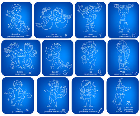 twelve: Set of children representing the twelve blue signs of the zodiac Illustration