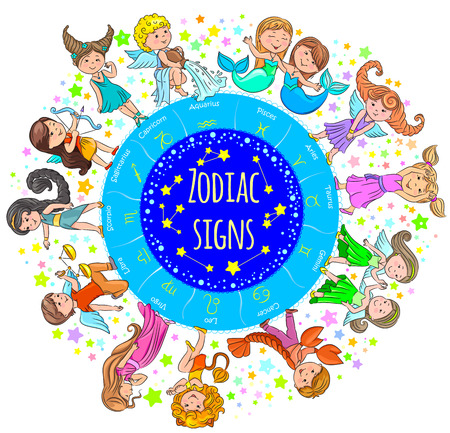 Color banner with kids depicting the zodiac signs. Illustration