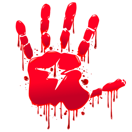 spilled paint: The imprint of a bloody hand with streaks of blood. Illustration