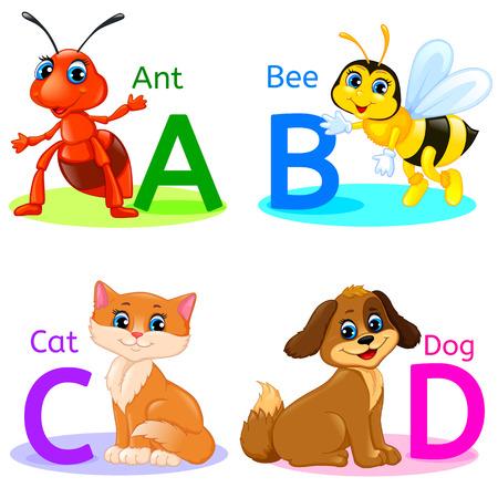 ABCD Alphabet wildlife. Ant, bee, cat, dog.