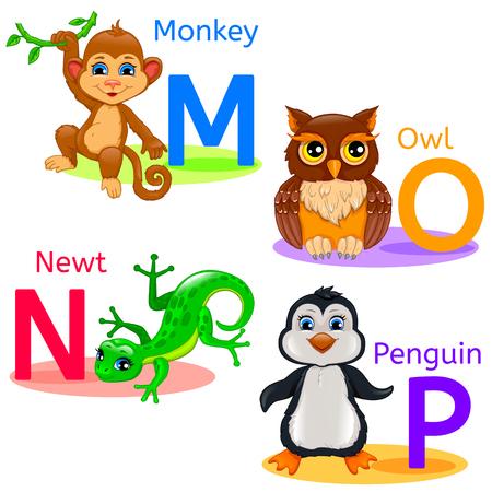 MNOP alphabet wildlife: monkey, owl, penguin, newt.