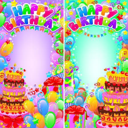 vetical: Vertical card �Happy Birthday� with balloons and gifts. Illustration
