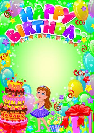 Tarjeta del feliz cumpleaños con el lugar para el texto