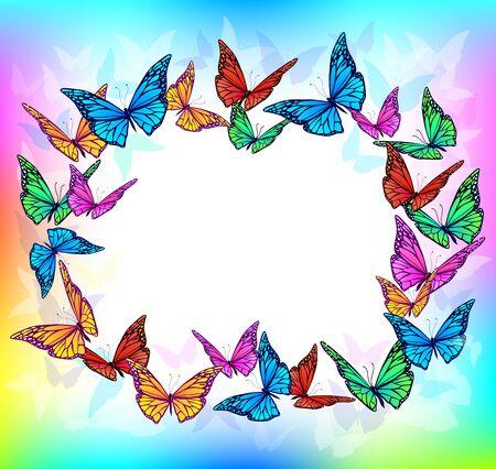 Bright butterfly blank frame. Eps10 Illustration