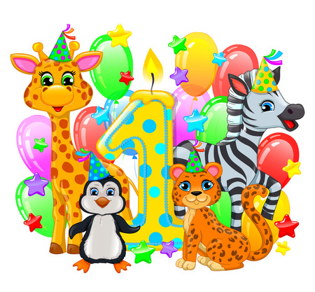 first birthday: First birthday composition cute animals.