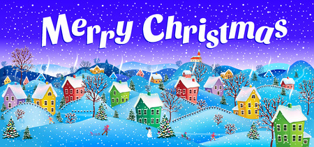 christmas eve: Winter, snowy Christmas Eve with the image of the village with the smoke from the chimneys and drifts Illustration