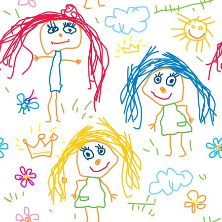 child's: Seamless pattern queen kids drawing.
