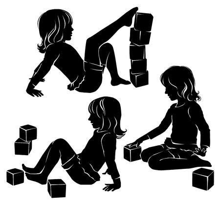 action girl: Set of silhouettes of a girl playing cubes. Illustration
