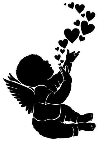 Silhouette baby angel with flying heart Vectores