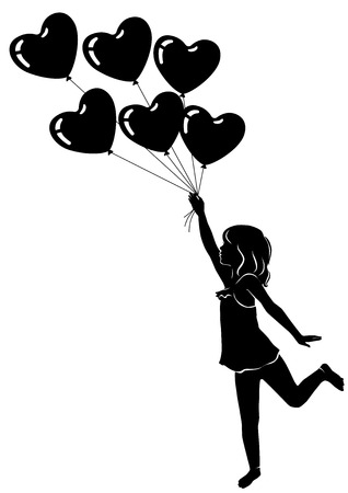 baby: Silhouette little girl with heart balloons. Illustration