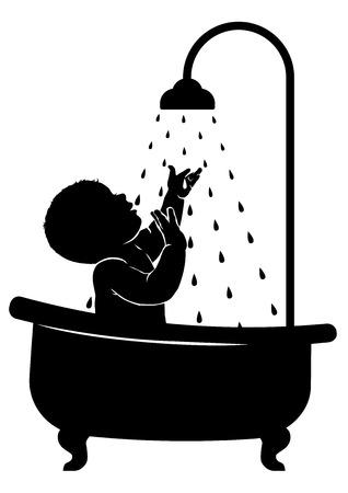 silueta niño: Silueta blanco y negro de un bebé para tomar una ducha.