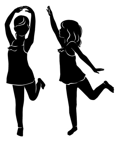 Silhouette of dancing girl in the face and profile.