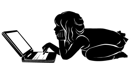 girl laptop: Black and white silhouette of a girl studying laptop.