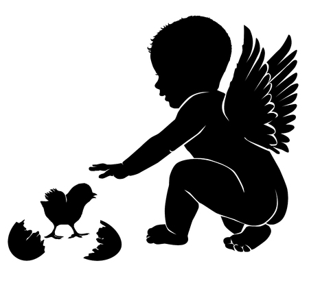 angel girl: Angel baby with wings Easter chick.