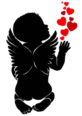 Angel baby silhouette with red hearts