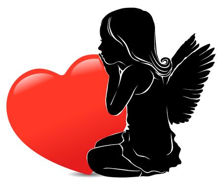Silhouetmeisje engel en groot rood hart. Stock Illustratie