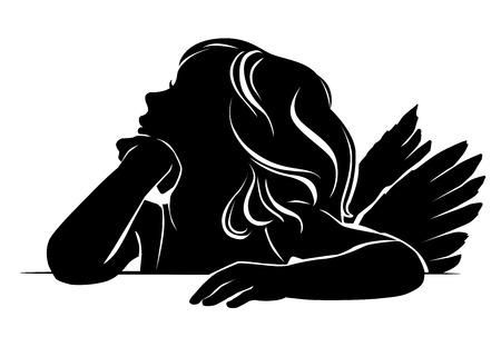 Silhouette little girl angel thinking Vectores