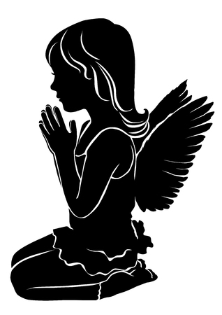 Silhouette cute little girl angel praying.