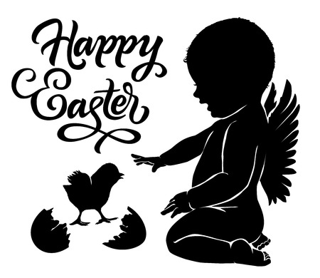 infancia: Silhouettes angel and baby chick with Happy Easter text.