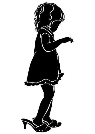 Silhouette little girl in big shoes. Eps10. Illustration