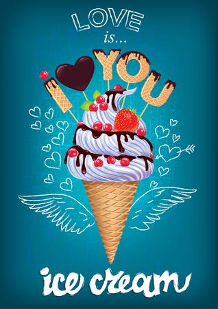 愛は、チョークで描かれたサインとアイスクリームのポスターです。