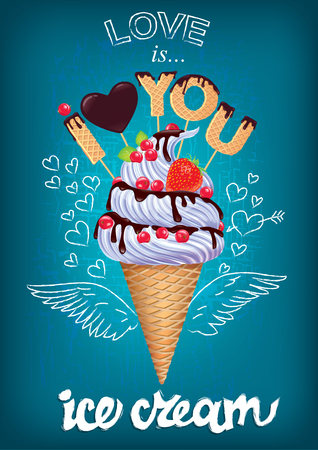 Love is ice cream poster with sign painted with chalk.