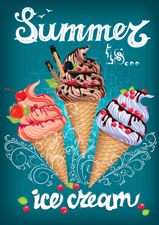 ice: Summer is ice cream Poster with text. Illustration