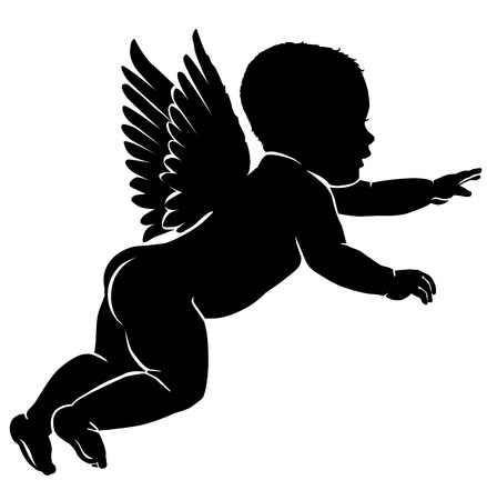children silhouettes: Angel baby silhouette with wings.