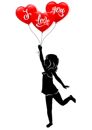 Girl and three red balloonsilhouette  I love you.