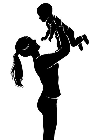 happy mom: Silhouette mother and little baby. Illustration