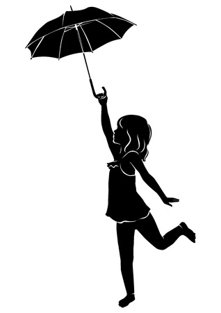 Silhouette little girl with umbrella Çizim