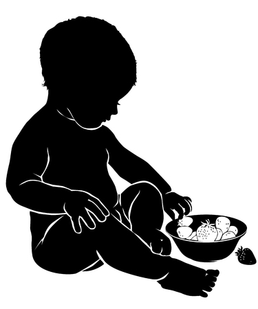 baby: Silhouette of a baby who eats a sweet strawberr.