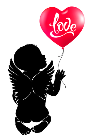 Silhouette baby angel with red heart balloon.