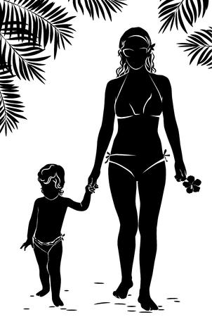 siluetas mujeres: Silueta mamá y bebé caminando por la playa con palmeras