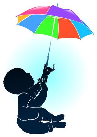 rainbow umbrella: Silhouette little baby and colored umbrella. Illustration