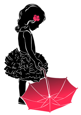 Silhouette little girl in dress with red umbrella Illustration
