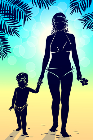 people icon: Silhouette mom and baby walking along beach with palm trees at sunset