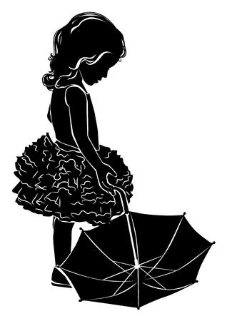 girl: Silhouette little girl with umbrella.