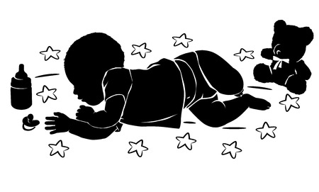 child care: Silhouette baby with star and teddy bear sleeping