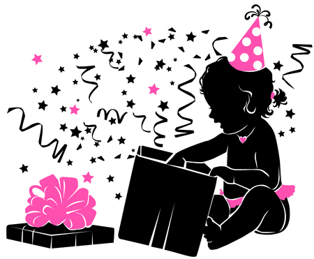 happy: Silhouette baby girl with gift Birthday 1year.