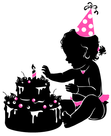 happy holidays: Silhouette cute baby girl with birthday cake and candle.