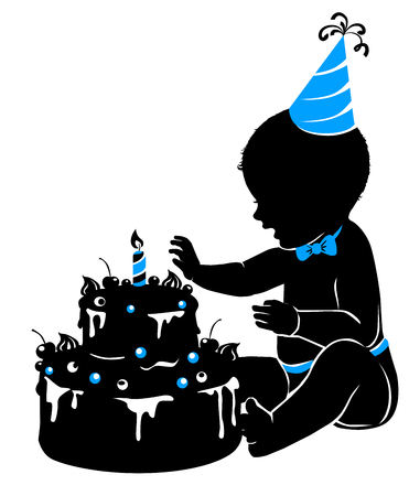 Silhouette baby boy with birthday cake and candle.