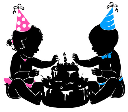 Silhouette baby boy girl twins with birthday cake. Stock Vector - 81011755