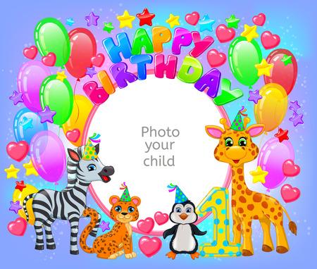 Birthday party frame your baby photo. Horizontal