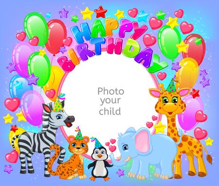 Birthday party cute animal frame your baby photo. Horizontal Illustration