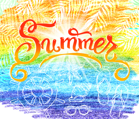 Summer banner watercolor blue yelow background.