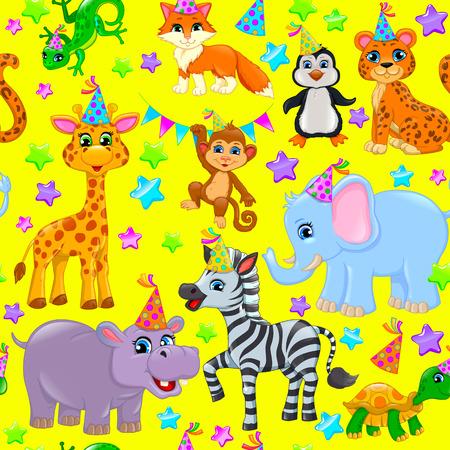 Color seamless animal pattern stars birthday cone.
