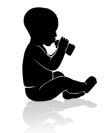 untruth: Black and white silhouette baby sitting drinking from baby bottle Illustration